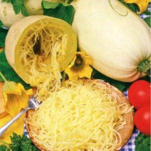 Une courge spaghetti cuite et crue